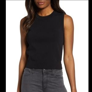 MICHAEL KORS Solid Crewneck Jersey Tank Top -Black